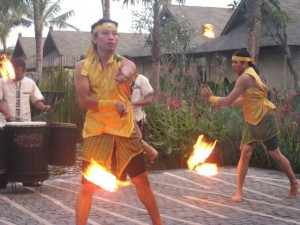 torch lighting ceremony at the st regis in bali