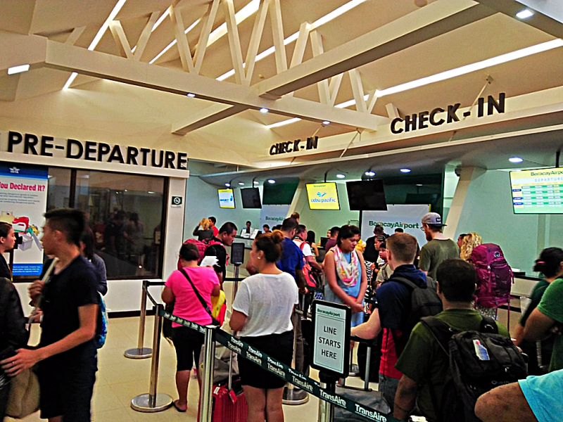 Checking in at Boracay Airport in the Philippines