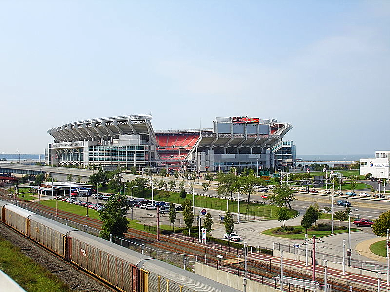 Cleveland Browns Stadium Photo Credit Heather McLaughlin via Wikimedia Commons.
