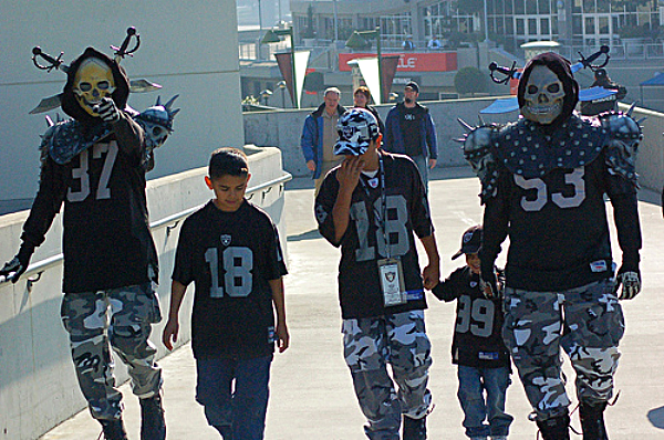 Oakland Raiders fans entering Black Hole