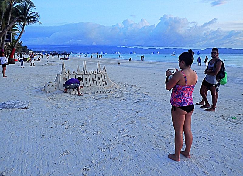 Philippines sand caslte on Boracay beach Photo Credit #AccidentalTravelWriter