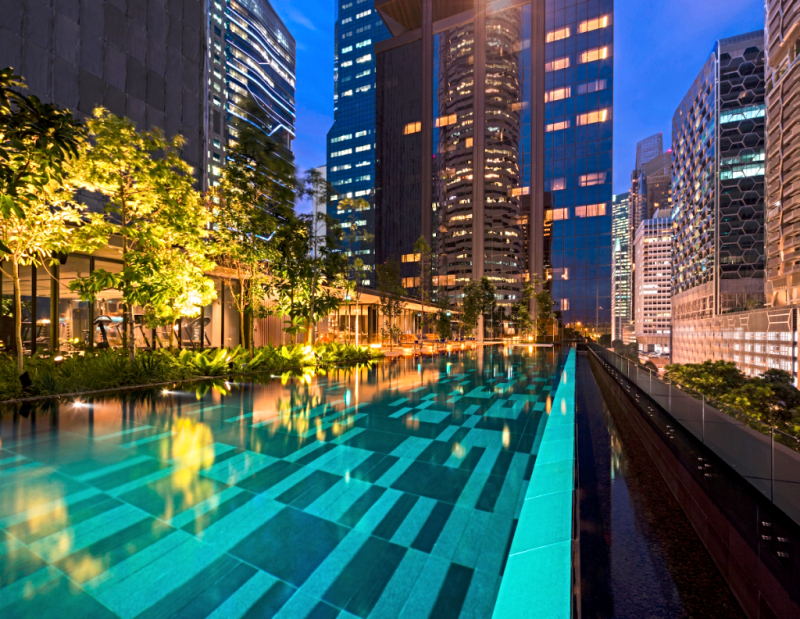 Singapore-hotel-oakwood-premier-que-Infinity-pool